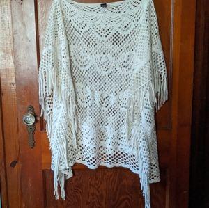 White sparkly light poncho/shawl